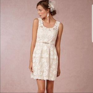 Anthropology BHLDN White Lace Dress with Slip